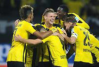 Fotball<br /> Tyskland<br /> Foto: Witters/Digitalsport<br /> NORWAY ONLY<br /> <br /> 2:0 Jubel v.l. Pierre-Emerick Aubameyang, Emre Mor, Torschuetze Lukasz Piszczek, Ousmane Dembele, Marcel Schmelzer (Dortmund)<br /> Dortmund, 23.09.2016, Fussball Bundesliga, Borussia Dortmund - SC Freiburg 3:1