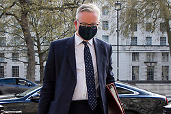 © Licensed to London News Pictures. 27/04/2021. London, UK. Minister for the Cabinet Office Michael Gove arrives in Westminster . Prime Minster Boris Johnson has recently come under criticism from his former chief advisor Dominic Cummings. Photo credit: George Cracknell Wright/LNP