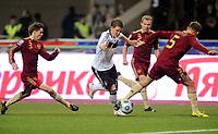 Fotball<br /> Russland v Tyskland<br /> Foto: Witters/Digitalsport<br /> NORWAY ONLY<br /> <br /> 10.10.2009<br /> <br /> v.l. Dmitry Torbinsky, Bastian Schweinsteiger, Vasily Berezutsky Russland<br /> WM-Qualifikation Russland - Deutschland 0:1