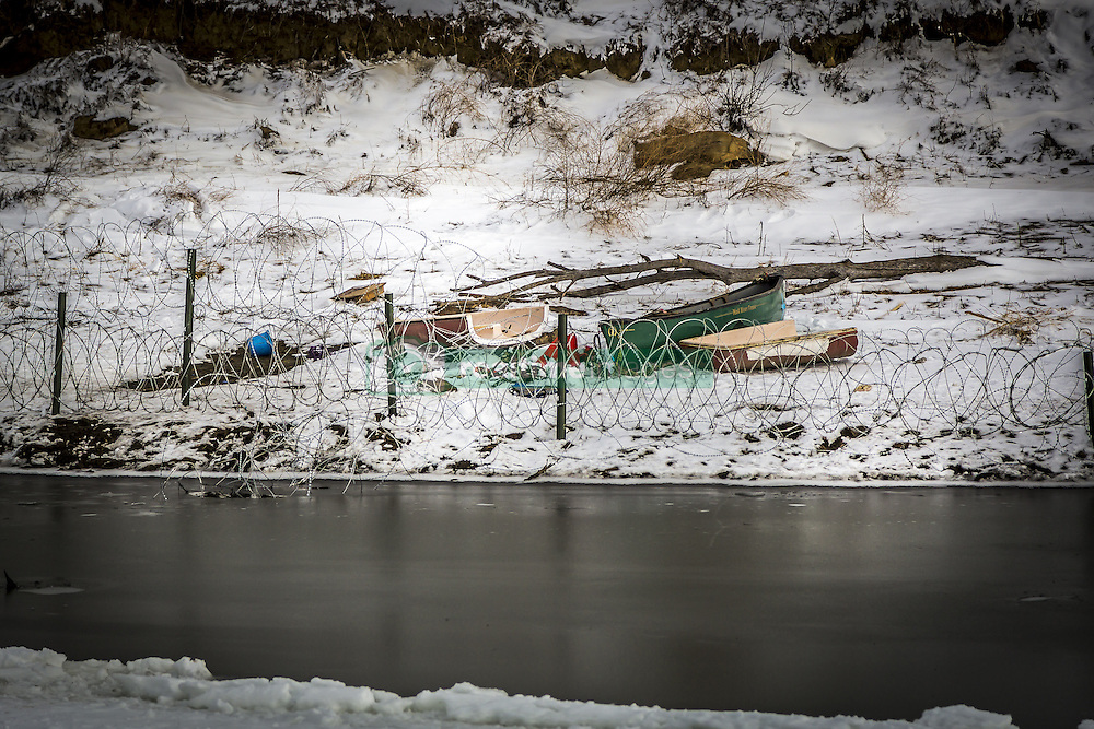December 3, 2016 - Cannonball, North Dakota, United States - Morton County Police and National Guard sawed water protectors canoes in half, preventing them from crossing the river. Veterans arrived en mass to Standing Rock, bringing a massive amount of supplies including winter clothing, food and firewood by the truck load.  Over 5000 veterans are anticipated to arrive by Sunday evening, prior to various actions slated to place. (Credit Image: © Michael Nigro/Pacific Press via ZUMA Wire)