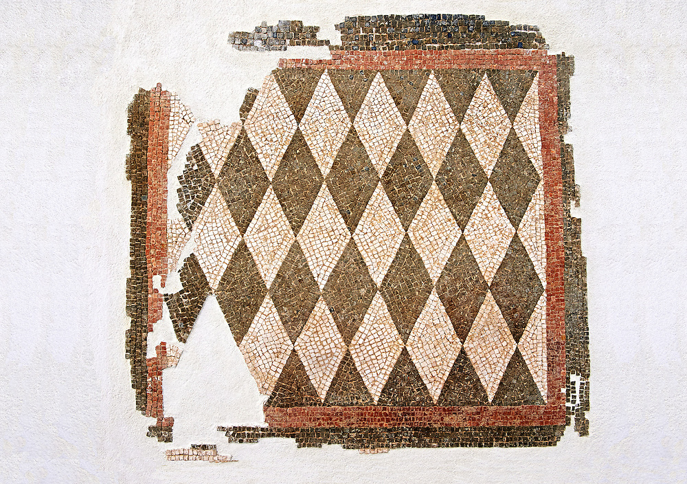Roman geometric floor mosaic with black and white diamonds shapes. From the Roman villa near Botte, Rome. 1st century BC . National Roman Museum, Rome, Italy .<br /> <br /> If you prefer to buy from our ALAMY PHOTO LIBRARY  Collection visit : https://www.alamy.com/portfolio/paul-williams-funkystock/national-roman-museum-rome-mosaic.html <br /> <br /> Visit our ROMAN ART & HISTORIC SITES PHOTO COLLECTIONS for more photos to download or buy as wall art prints https://funkystock.photoshelter.com/gallery-collection/The-Romans-Art-Artefacts-Antiquities-Historic-Sites-Pictures-Images/C0000r2uLJJo9_s0
