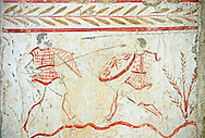 Lucanian fresco tomb painting of a two men fighting. Pastrum 3rd Century BC .<br /> <br /> If you prefer to buy from our ALAMY PHOTO LIBRARY  Collection visit : https://www.alamy.com/portfolio/paul-williams-funkystock - Scroll down and type - Paestum Fresco - into LOWER search box. {TIP - Refine search by adding a background colour as well}.<br /> <br /> Visit our ANCIENT GREEKS PHOTO COLLECTIONS for more photos to download or buy as wall art prints https://funkystock.photoshelter.com/gallery-collection/Ancient-Greeks-Art-Artefacts-Antiquities-Historic-Sites/C00004CnMmq_Xllw