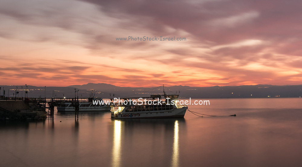 Boats in the Sea of Galilee at dawn