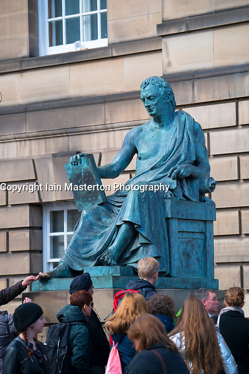 Statue of the philosopher David Hume in the Royal Mile, Edinburgh, Scotland, United Kingdom