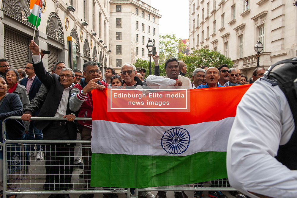 Pro India counter demonstrators also turned out with a small demonstration.<br /> <br /> <br /> Police worked to keep the protesters and counter protesters apart through use of barriers, mounted police and lines of police. <br /> <br /> Richard Hancox   EEm 15082019