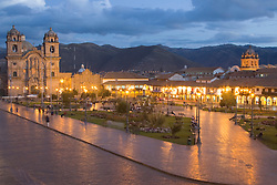 South America, Peru, Cuzco, Cathedral and plaza at dusk