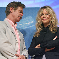 """(06/21/08-Nantucket,MA) Nantucket Film Festival. Here, actress Meg Ryan and actor William Macy pose for photos at Nantucket High School prior to an early afternoon show entitled """"Compass Rose Acting Tribute"""" where the stars were interviewed/roasted by film critic Leonard Maltin. Photo by Mark Garfinkel"""