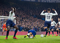 Football - 2018 / 2019 EFL Carabao Cup (League Cup) - Semi-Final, Second Leg: Chelsea (0) vs. Tottenham Hotspur (1)<br /> <br /> Moussa Sissoko (Tottenham FC)  and Erik Lamela (Tottenham FC)  lift their arms as after Emerson (Chelsea FC)  goes over looking for the penalty at Stamford Bridge <br /> <br /> COLORSPORT/DANIEL BEARHAM