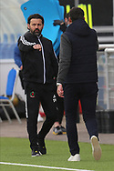 Cove Rangers Manager Paul Hartley  and Hibernian Manager Jack Ross shakes hands after the Betfred Scottish League Cup match between Cove Rangers and Hibernian at Balmoral Stadium, Aberdeen, Scotland on 10 October 2020.