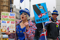 © Licensed to London News Pictures. 08/04/2019. London, UK. Madeleina Kay, a pro-Brexit and Steve Bray, an anti-Brexit protesters demonstrating outside the Houses of Parliament. British Prime Minister, Theresa May will travel to Berlin and Paris on Tuesday, 9 April to meet with Chancellor of Germany - Angela Merkel and President of the French - Emmanuel Macron ahead of a crunch Brexit summit in Brussels on Wednesday, 10 April. Photo credit: Dinendra Haria/LNP
