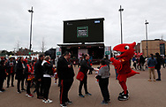 A coronavirus warning is displayed outside the ground before the Premier League match at Anfield, Liverpool. Picture date: 7th March 2020. Picture credit should read: Darren Staples/Sportimage