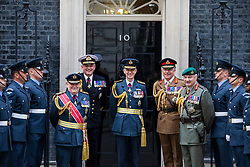 © Licensed to London News Pictures. 23/05/2018. London, UK. From third left: Chief of Defence Staff Stuart Peach, First Sea Lord Admiral Sir Philip Jones, Air Chief Marshal Sir Stephen Hillier, Chief of General Staff Peter Walker and Vice Chief of Defence Staff Gordon Messenger stand for a photograph on Downing Street as part of the RAF100 Centenary celebrations. Photo credit: Rob Pinney/LNP