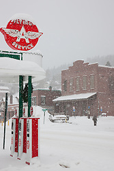 """""""Snowy Flying A in Truckee 3"""" - This snow covered replica of a Flying A gas station was photographed in the early morning in Downtown Truckee, California."""