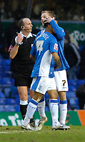 Photo: Leigh Quinnell.<br /> Birmingham City v Newcastle United. The FA Cup. 06/01/2007. Birminghams DJ Campbell is congratulated on his goal by teammate Sebastian Larsson.