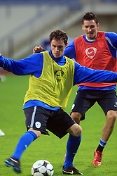Ales Mejac and Andraz Kirm (17)  at practice of Slovenian men National team, on October 13, 2008, in Domzale, Slovenia.  (Photo by Vid Ponikvar / Sportal Images)