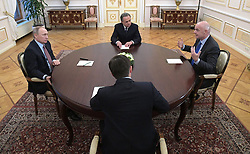 November 25, 2016 - Moscow, Russia - Russian President Vladimir Putin, left, during a meeting with FIFA president Giovanni Infantino, at the Kremlin November 25, 2016 in Moscow, Russia. Joining the meets is Russian Minister of Sport Vitaly Mutko. (Credit Image: © Alexei Druzhinin/Planet Pix via ZUMA Wire)
