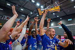 Dennis Borst of Lycurgus, Jerome Cross of Lycurgus celebrate after the cup final between Amysoft Lycurgus vs. Draisma Dynamo on April 18, 2021 in sports hall Alfa College in Groningen