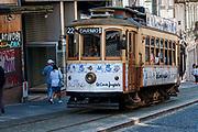 Old style heritage tram in Rua de 31 de Janeiro, Porto, Portugal
