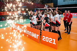 Apollo celebrate after 3-1 win in the cupfinal between Laudame Financials VCN vs. Apollo 8 on April 05, 2021 in sports hall MartinasPlaza, Groningen