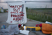 12 local activists locked themselves in specially made arm tubes to block the entrance to Quadrillas drill site in New Preston Road, July 03 2017, Lancashire, United Kingdom. Councillor Gina Dowding and Barbara Cookson. The 13 activists included 3 councillors; Julie Brickles, Miranda Cox and Gina Dowding and Nick Danby, Martin Porter, Jeanette Porter,  Michelle Martin, Louise Robinson,<br /> Alana McCullough, Nick Sheldrick, Cath Robinson, Barbara Cookson, Dan Huxley-Blyth. The blockade is a repsonse to the emmidiate drilling for shale gas, fracking, by the fracking company Quadrilla. Lancashire voted against permitting fracking but was over ruled by the conservative central Government. All the activists have been active in the struggle against fracking for years but this is their first direct action of peacefull protesting. Fracking is a highly contested way of extracting gas, it is risky to extract and damaging to the environment and is banned in parts of Europe . Lancashire has in the past experienced earth quakes blamed on fracking.