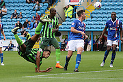 Lyle Taylor of AFC Wimbledon tries the spectacular during the Sky Bet League 2 match between Carlisle United and AFC Wimbledon at Brunton Park, Carlisle, England on 22 August 2015. Photo by Stuart Butcher.