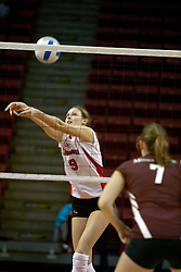 18 November 2005: Katie Kreimer watches as Emily Kabbes strikes the ball. Missouri State Bears clawed their way past the Illinois State Redbirds in 4 games to take the match played at Redbird Arena in Normal Illinois.