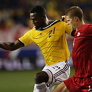 Jackson Martinez, Colombia, in action during the Columbia Vs Canada friendly international football match at Red Bull Arena, Harrison, New Jersey. USA. 14th October 2014. Photo Tim Clayton