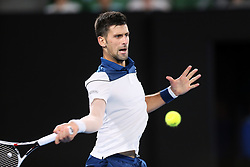 MELBOURNE, Jan. 22, 2018  Novak Djokovic of Serbia returns a shot during the men's singles fourth round match against Chung Hyeon of South Korea at Australian Open 2018 in Melbourne, Australia, Jan. 22, 2018. Djokovic lost by 0-3. (Credit Image: © Li Peng/Xinhua via ZUMA Wire)