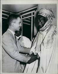 Jul. 07, 1962 - King Hussein meets the Premiere of Northern Nigeria on the steps of the Dorchester Hotel: King Hussein of Jordan was greeted by Alhaji Sir Ahmadu Bello, Premier of Northern Nigeria on the steps of the Dorchester Hotel today as King Hussein was leaving the hotel to lunch with the Queen and Prince Philip at Buckingham Palace. the Premier is here on a nine day visit. Photo shows King Hussein is greeted by Alhaji Sir Ahmadu Bello, the Prime Minister of Northern Nigeria on the steps of the Dorchester Hotel today. (Credit Image: © Keystone Press Agency/Keystone USA via ZUMAPRESS.com)