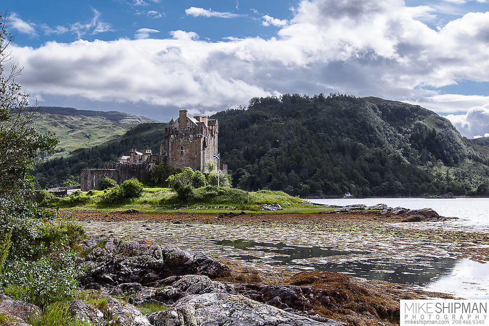 Eilean Donan Castle, UK, Scotland. It was here in 1719 that Spanish supporters of the Jacobites held off English ships during the Battle of Glen Shiel.