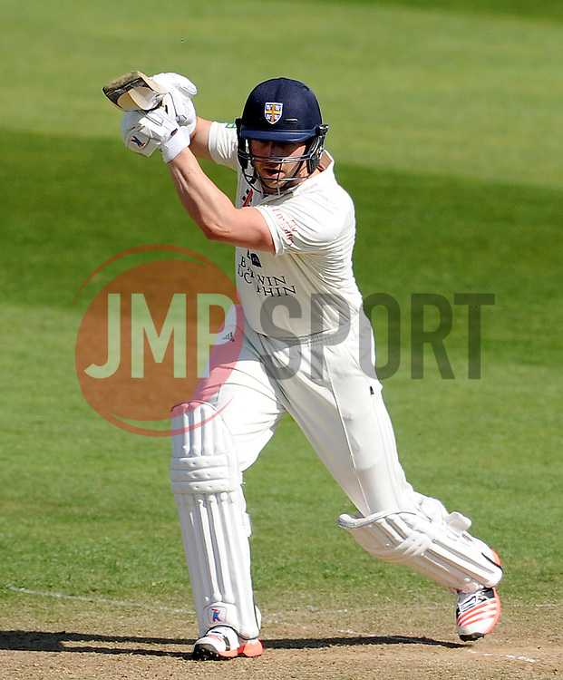 Durham's Mark Stoneman flicks the ball off the bowling of Somerset's Tim Groenewald. - Photo mandatory by-line: Harry Trump/JMP - Mobile: 07966 386802 - 14/04/15 - SPORT - CRICKET - LVCC County Championship - Day 3 - Somerset v Durham - The County Ground, Taunton, England.