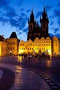 Old town square at dawn; Prague, Czech Republic.