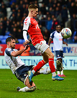 Fleetwood Town's Ashley Hunter is tackled by Bolton Wanderers' Jake Wright<br /> <br /> Photographer Richard Martin-Roberts/CameraSport<br /> <br /> The EFL Sky Bet League One - Bolton Wanderers v Fleetwood Town - Saturday 2nd November 2019 - University of Bolton Stadium - Bolton<br /> <br /> World Copyright © 2019 CameraSport. All rights reserved. 43 Linden Ave. Countesthorpe. Leicester. England. LE8 5PG - Tel: +44 (0) 116 277 4147 - admin@camerasport.com - www.camerasport.com