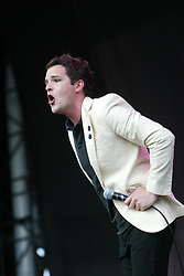 Brandon Flowers, the lead vocal for the American rock band The Killers, play the main stage on Saturday 9th July, 2005 at the two-day T in the Park festival, at Balado, Kinross-shire, Scotland..