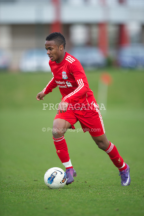KIRKBY, ENGLAND - Tuesday, March 20, 2012: Liverpool's Raheem Sterling in action against Arsenal during the FA Premier Reserve League match at the Kirkby Academy. (Pic by David Rawcliffe/Propaganda)