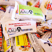 Payday candy bars with different pay gap facts at Thursday's forum on Native Women's Equal Pay Day at the University of New Mexico-Gallup.