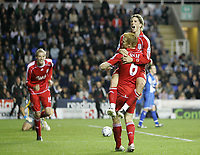 Photo: Lee Earle.<br /> Reading v Liverpool. Carling Cup. 25/09/2007. Fernando Torres (R) is congratulated by John Arne Riise after scoring Liverpool's third.