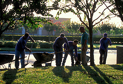Stock photo of five men doing landscaping on a job site