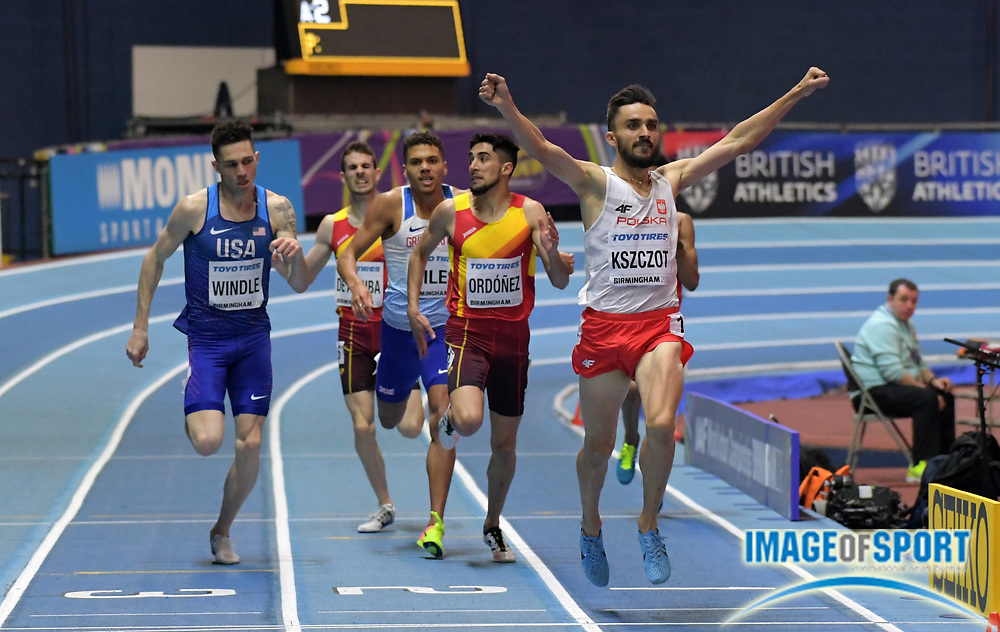 Mar 3, 2018; Birmingham, United Kingdom; Adam Kszczot (POL) wins the 800m in 1:47.47 during the IAAF World Indoor Championships at Arena Birmingham. Drew Eindle (USA) was second in 1:47.99. Saul Ordonez (ESP) was third in 1:48.44 and Elliot Giles (GBR) was fourth in 1:48.22. in