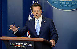 Newly appointed White House communications director Anthony Scaramucci answers questions about the resignation of White House Press Secretary Sean Spicer during a press briefing at the White House, on July 21, 2017 in Washington, DC. Photo by Olivier Douliery/ Abaca