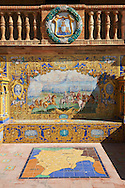 The tiled Albacette Alcove along the walls of the Plaza de Espana in Seville built in 1928 for the Ibero-American Exposition of 1929, Seville Spain . The Royal Alcázars of Seville (al-Qasr al-Muriq ) or Alcázar of Seville, is a royal palace in Seville, Spain. It was built by Castilian Christians on the site of an Abbadid Muslim alcazar, or residential fortress.The fortress was destroyed after the Christian conquest of Seville The palace is a preeminent example of Mudéjar architecture in the Iberian Peninsula but features Gothic, Renaissance and Romanesque design elements from previous stages of construction. The upper storeys of the Alcázar are still occupied by the royal family when they are in Seville. <br /> <br /> Visit our SPAIN HISTORIC PLACES PHOTO COLLECTIONS for more photos to download or buy as wall art prints https://funkystock.photoshelter.com/gallery-collection/Pictures-Images-of-Spain-Spanish-Historical-Archaeology-Sites-Museum-Antiquities/C0000EUVhLC3Nbgw <br /> .<br /> Visit our MEDIEVAL PHOTO COLLECTIONS for more   photos  to download or buy as prints https://funkystock.photoshelter.com/gallery-collection/Medieval-Middle-Ages-Historic-Places-Arcaeological-Sites-Pictures-Images-of/C0000B5ZA54_WD0s