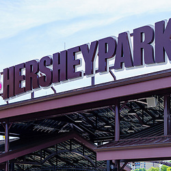Hershey, PA, USA - September 4, 2020: The entrance sign at Hersheypark, a popular attraction in Chocolatetown USA.