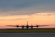 """""""FIFI,"""" the only operaring  Boeing B-29A-60-BN Superfortress in the world, taxis at the New Orleans Lakefront Airport for the Airpower Expo Airshow on October 23, 2014."""