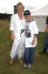 "The COUNTESS OF MARCH and her son LORD SETTRINGTON at the Goodwood Festival of Speed on 9th July 2006.  Cartier sponsored the ""Style Et Luxe' for vintage cars on the final day of this annual event at Goodwood House, West Sussex and hosted a lunch.<br />