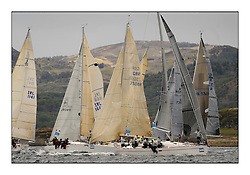 Brewin Dolphin Scottish Series 2010, Tarbert Loch Fyne - Yachting..Day one stated late but resulted in good conditions on Loch Fyne..Class 3 start with GBR1952L ,Animal ,Debbie Aitken ,CCC/RNCYC ,Elan 380...