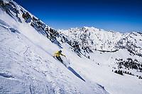 Taylor Johnson dropping Mount Baldy, Alta Ski Area, Utah.