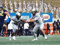Dec 5, 2020; Berkeley, California, USA; Oregon Ducks quarterback Tyler Shough (12) fakes a hand-off to Oregon Ducks wide receiver Jaylon Redd (30) during the first quarter at California Memorial Stadium. Mandatory Credit: Kelley L Cox-USA TODAY Sports