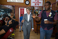 Jumaane Williams, the Democratic candidate for Lieutenant Governor of New York,invites Gubernatorial candidate Cynthia Nixon,to campaign with him in his neighborhood Flatbush, Brooklyn. They shook hands and waved to customers at a beauty salon.