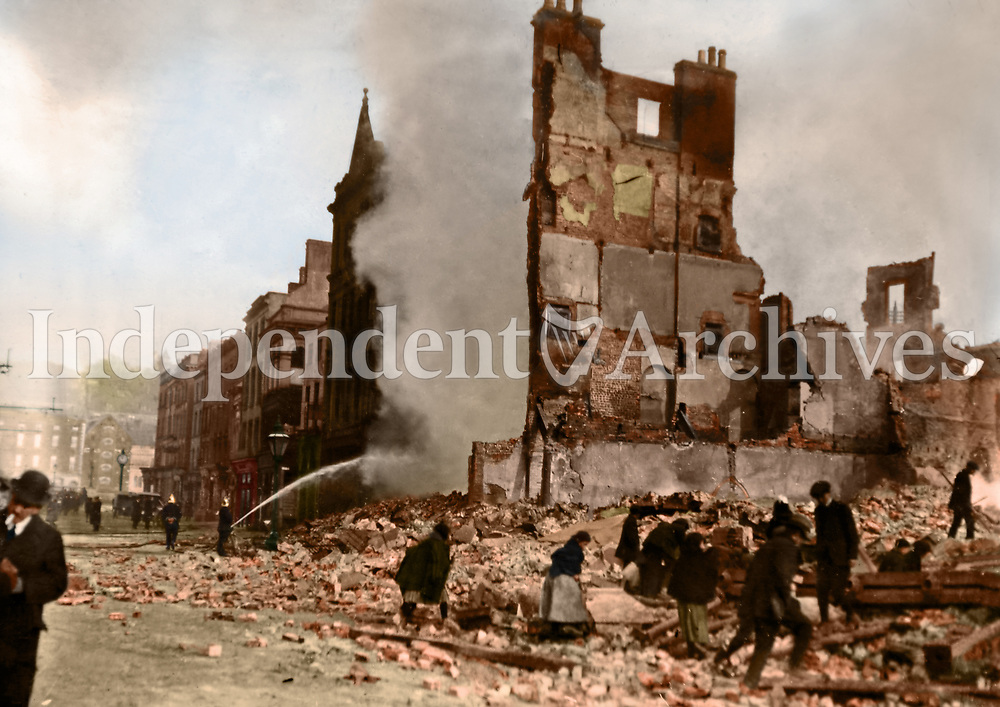 Ruined buildings, possibly on Henry St. (Part of the Independent Newspapers Ireland/NLI Collection) Colourised by Tom Marshall (PhotograFix).