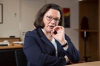 15 MAR 2018, BERLIN/GERMANY:<br /> Andrea Nahles, SPD Fraktionsvorsitzende, waehrend einem Interview, in ihrem Buero, Jakob-Kaiser-Haus, Deutscher Bundestag<br /> IMAGE: 20180315-01-009<br /> KEYWORDS: Büro